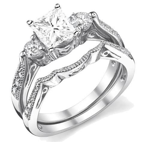 0 58 carat princess cut certified diamond wedding ring 10k white gold jeenjewels