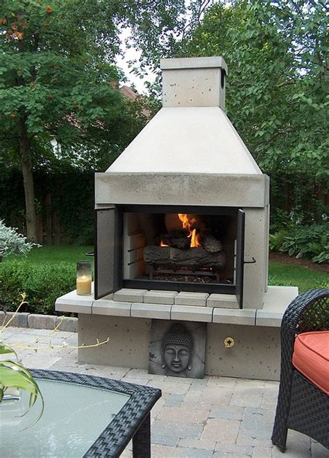 mirage stone open face outdoor gas fireplace  gas logs