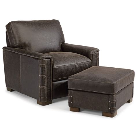 chair and ottoman set flexsteel latitudes lomax rustic leather chair and