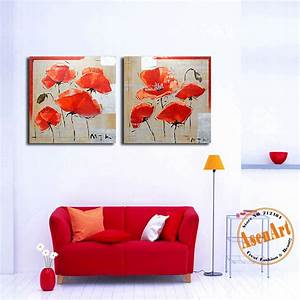 100 hand painted beautiful red poppy field abstract With beautiful poppy wall decals