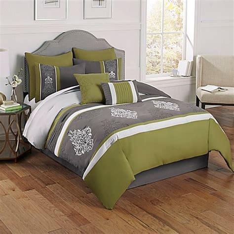 montclair 8 piece comforter set in green grey bed bath