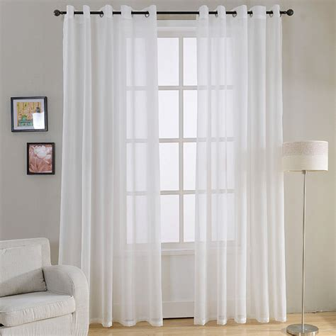 White Sheer Kitchen Curtains by Modern Plain White Sheer Curtains For Living Room Bedroom