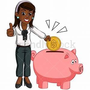 Black Woman Saving Money In Piggy Bank Vector Cartoon ...