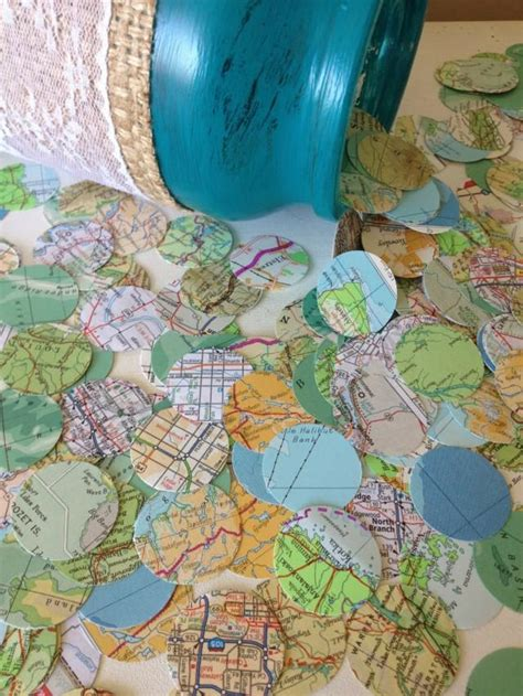 vintage atlas map wedding confetti shabby chic wedding