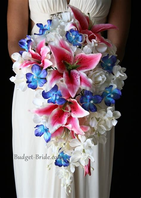 pink  blue wedding flowers    kinda