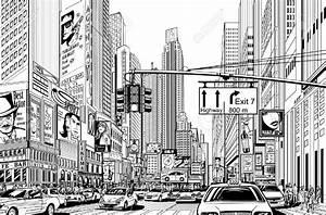 Illustration of a street in New York city | Illustration ...