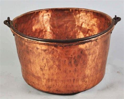 large copper apple butter pot  metal handle lot  copper ware copper copper