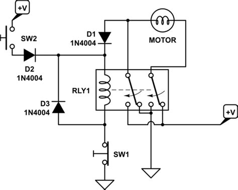 12v Relay Schematic Diagram by Switches Change Direction Of 12v Dc Motor Rotation Using