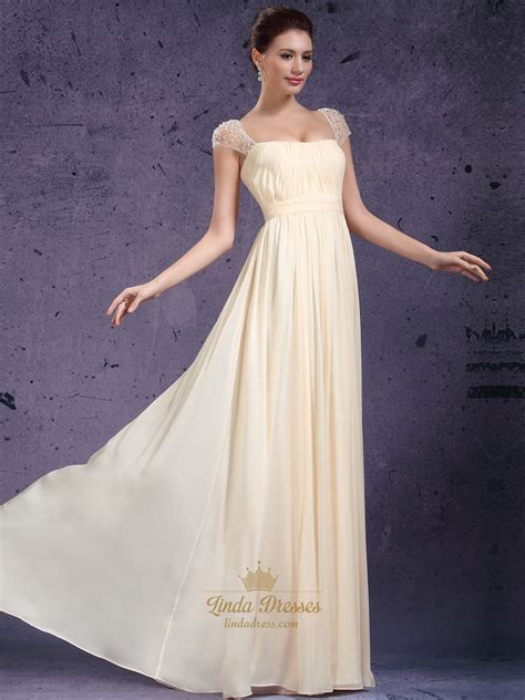 light yellow prom dresses light yellow chiffon cap sleeve prom dress with beaded