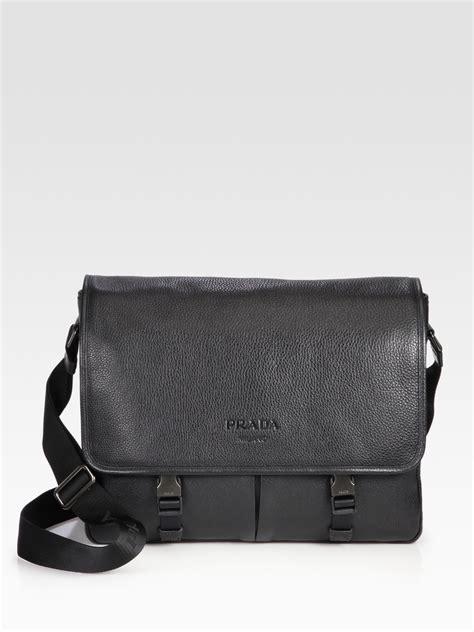 lyst prada pebbled leather messenger bag  black  men