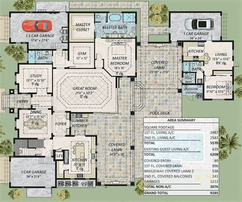 house plans with 3 master suites spacious florida house plan with two master suites