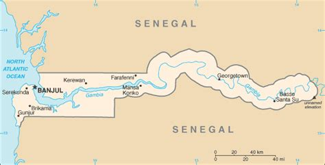 Map of the Gambia from Central Intelligence Agency – CIA World ...