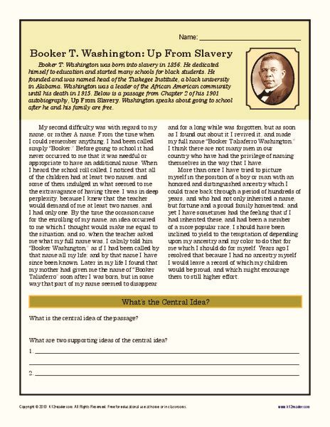 booker t washington up from slavery worksheet for 5th