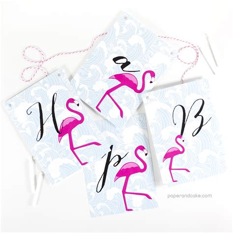 Flamingo Happy Birthday Pennant Banner Paper and Cake