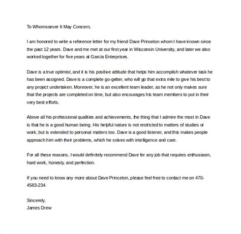 personal letter of recommendation template 28 images