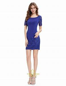 Casual Summer Royal Blue Sheath Dress With Short Sleeves ...