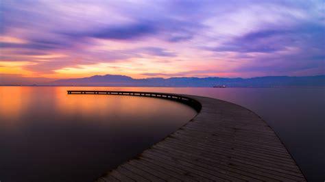 日落,碼頭,河 電腦桌布 | 1920x1080 桌布下載 | HK.HDWALL365.com