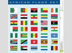 Set Of African Flags, Vector Illustration Stock Vector