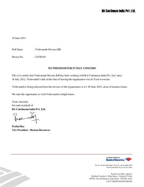 vishwanath srivatsa kb relieving letter