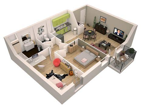 plan maison 80m2 3 chambres 3d