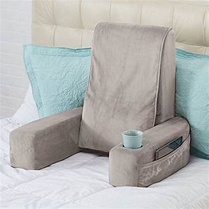 massaging bed rest pillow cup holder pocket high back neck With bed rest pillow with arms and pockets