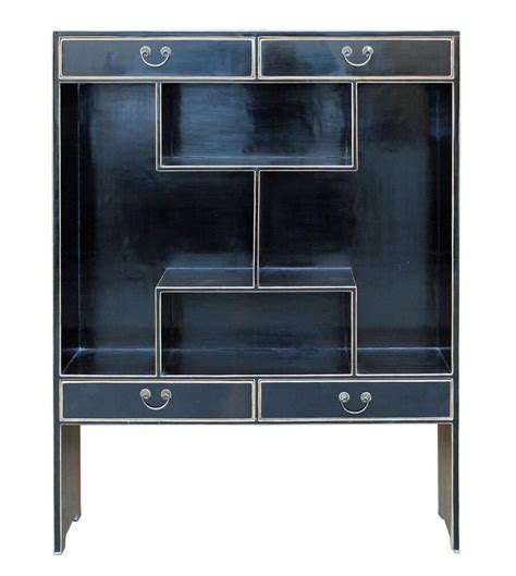 Display Bookcase by Multi Levels Black Lacquer Display Cabinet Y511 Display