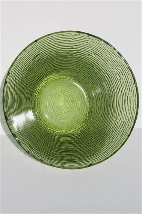 retro  soreno avocado green textured glass vintage