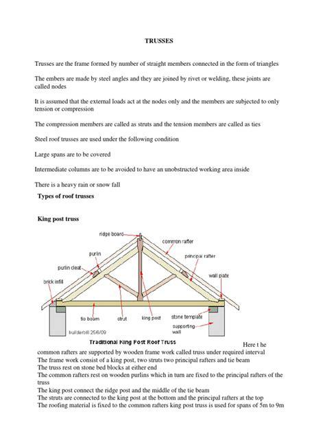 calculate king post height steel trusses queen