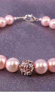 Light Pink Pearl and Rhinestone Dragonball Bracelet | Etsy ...