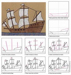 Draw a Mayflower Ship - Art Projects for Kids