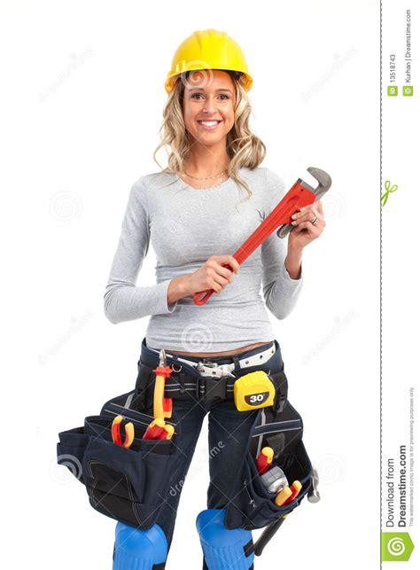 builder woman stock image image  house ladder helmet