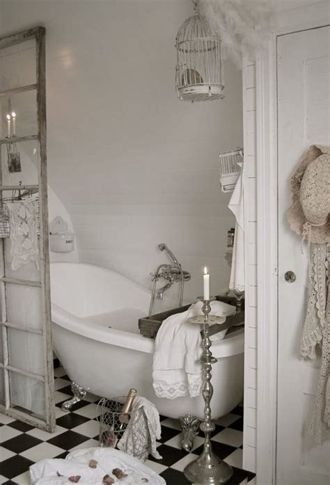 picture of white shabby chic bathroom with a claw foot tub
