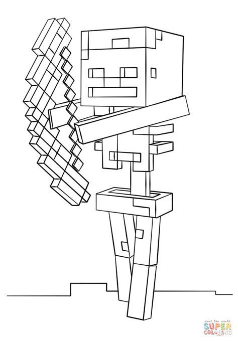 disegni da colorare minecraft scp disegno di scheletro con arco di minecraft da colorare