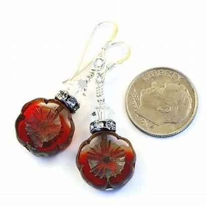 Handmade Earrings Flower Jewelry Christmas Glass Pansy