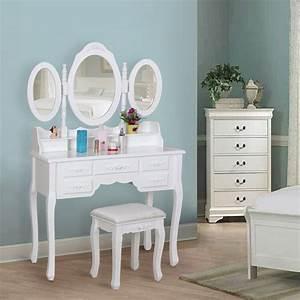 Coiffeuse 3 Miroirs : songmics blanc coiffeuse table de maquillage grand commode avec 3 miroirs rabattables 7 tiroirs ~ Teatrodelosmanantiales.com Idées de Décoration