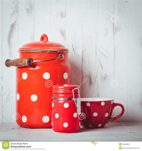 Red Polka Dot Utensils Stock Photo  Image 54883863