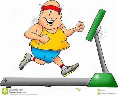 Treadmill Cartoon Clipart Guy Chubby Smiling Animated