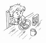 Eating Coloring Boy Sandwich Butter Peanut Breakfast Boterham Kind Illustration Background Boter Met sketch template