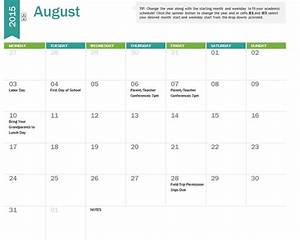 2015 16 school calendar template for 2015 16 academic calendar template