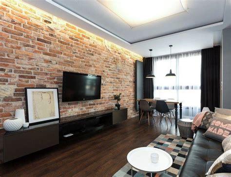 wohnzimmer im industrial style rote ziegelwand und
