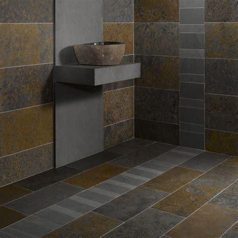 carrelage ardoise cuisine salle de bain sol noir mur gris