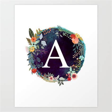 personalized monogram initial letter  floral wreath artwork art print  abalife society