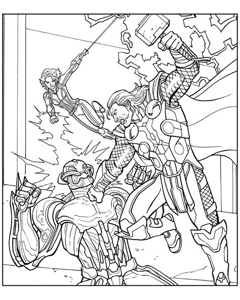 coloring page avengers battle