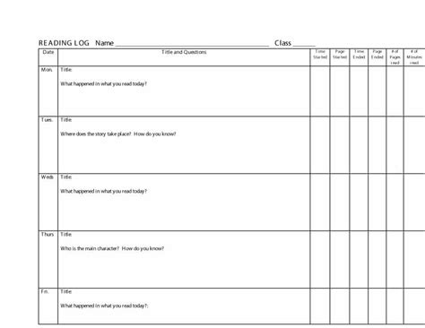 Reading Log For High School Students Template by 47 Printable Reading Log Templates For Middle School