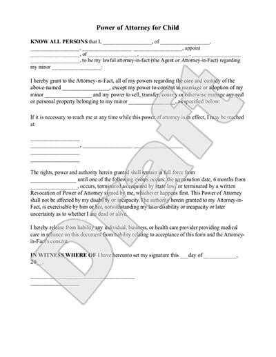 Free Consent To Change Attorney Form by Power Of Attorney For Child Poa For Minor Form Rocket