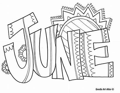 Coloring Months Pages June Doodle Colouring Doodles