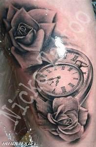 Reloj antiguo 3D con rosas Tatuajes 123