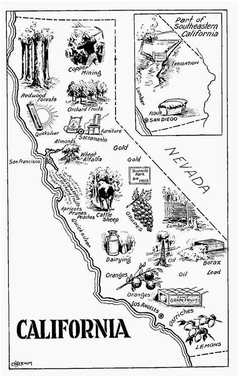 California State Symbols Coloring Pages Create With Tlc More Vintage Map Freebies