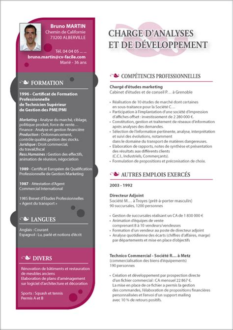 exemple cv marketing cr 233 ation cv par cv facile