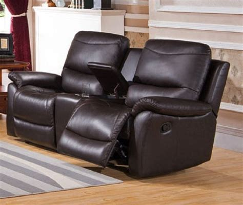 Top Grain Leather Loveseat by Pisa Top Grain Leather Reclining Loveseat With Console